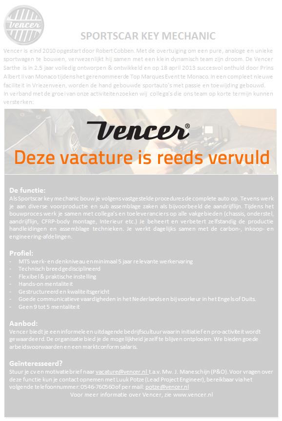 Vencer_Vacature_Sportcar_key_mechanic